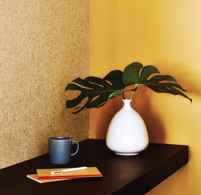 Plant, coffee mug, and notebook on a desk